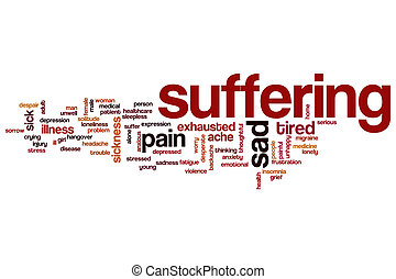 Suffering word cloud concept with pain stress related tags