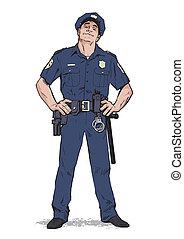 suffisant, upright., stands, policier, uniforme, bleu