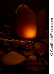 Suffused Orange Light On Stones