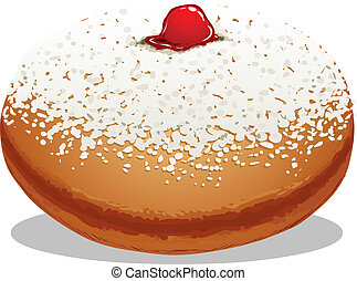 Sufganiyah Hanukkah Donut - A Vector illustration of...