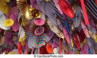 sufit, thai, papier, ozdoby, barwny, zapierający dech, ...