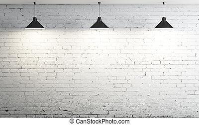 sufit, trzy, lampa