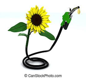 suflower and fuel pump, 3d illustration