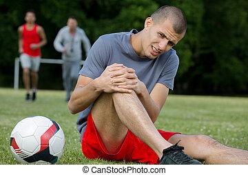 sufrimiento, futbol, lesión, rodilla, jugador
