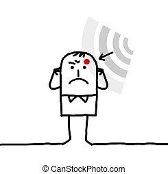 sufrimiento, hombre, caricatura, electrosensitivity