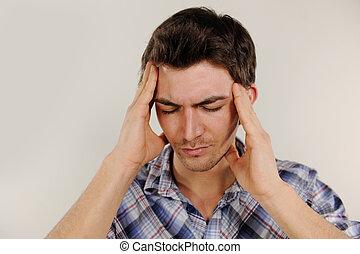 sufrimiento, hombre, dolor de cabeza