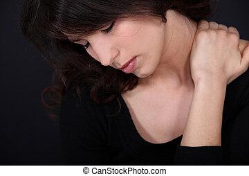 sufrimiento, mujer, dolor, cuello