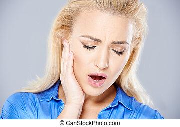 sufrimiento, mujer, joven, dolor de muelas