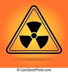 sugárzás, biztonság, aláír, ikon