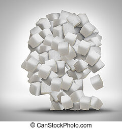 Sugar Addiction - Sugar addiction concept as a human head...
