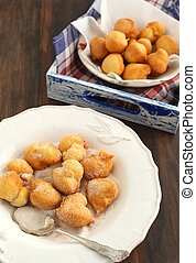 Sugar and Cinnamon Fritters on a plate