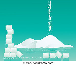 an illustration of a pile of fine white sugar with sugar cubes and granules on a jade green background