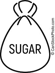 Sugar bag icon, outline style