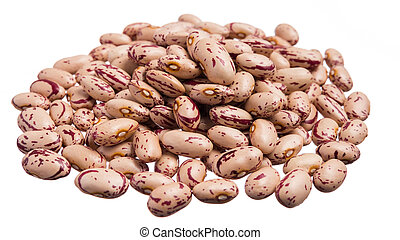 Sugar Bean. Pile of grains, isolated white background. -...