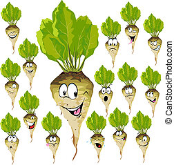 sugar beet cartoon with many expressions isolated on white