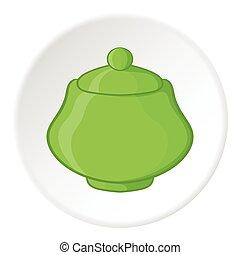 Sugar bowl icon, cartoon style