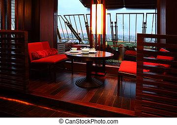 sugar-bowl, soir, tasse, restaurant, table, vide, sièges, ...