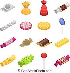 Sugar candy icon set, isometric style