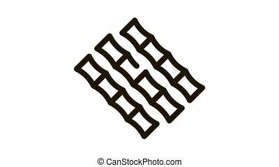 Sugar Cane Sticks Icon Animation. black Sugar Cane Sticks animated icon on white background