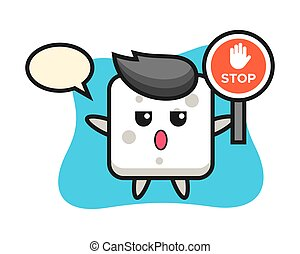 Sugar cube character illustration holding a stop sign