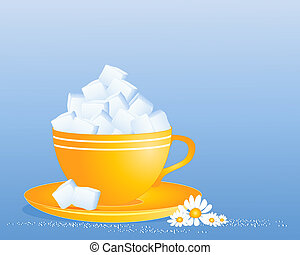 an illustration of a bright yellow cup and saucer full of white sugar cubes with granules and daisy decoration on a blue background