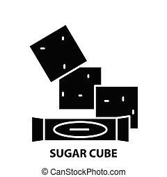 sugar cube icon, black vector sign with editable strokes, concept illustration