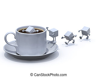 sugar cubes cartoon that plunge into the cup of coffee, 3d...