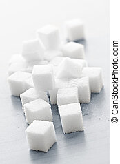 Sugar cubes - Close up of many white sugar cubes