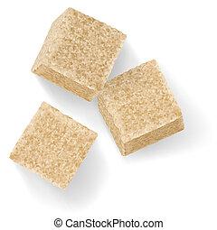 Sugar cubes - %u0420%u2019rown sugar cubes. Illustration on...
