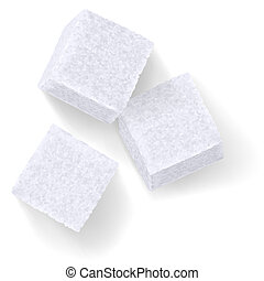 Sugar cubes - White Sugar Cubes. Illustration on a white ...