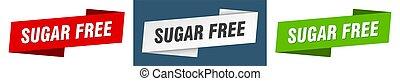 sugar free banner. sugar free ribbon label sign set