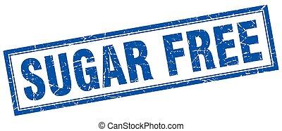 sugar free blue square grunge stamp on white