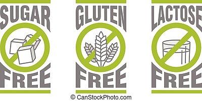 Sugar free, Gluten free, Lactose free