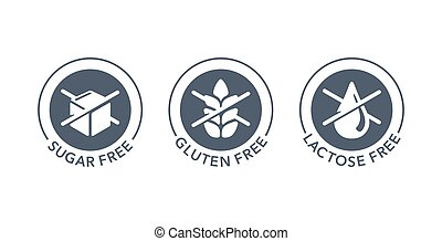 Sugar free, Gluten free, Lactose free stamps set