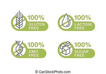 Sugar free, Gluten, Lactose, GMO stamp - Sugar free, Gluten ...
