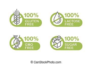 Sugar free, Gluten, Lactose, GMO stamp