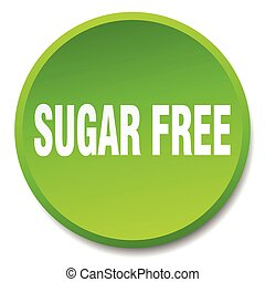 sugar free green round flat isolated push button