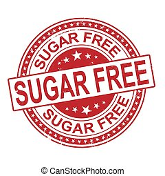 sugar free grunge stamp isolated on white background