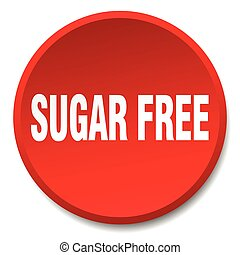 sugar free red round flat isolated push button