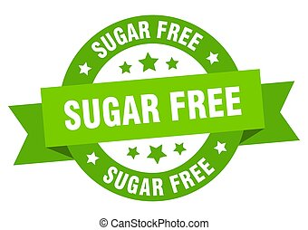 sugar free ribbon. sugar free round green sign. sugar free