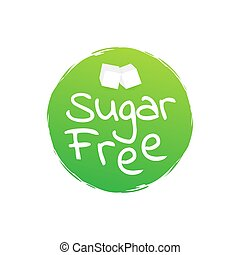 Sugar free. Round green label. Vector stock illustration.