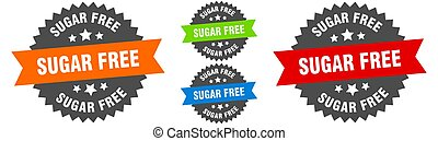 sugar free sign. round ribbon label set. Seal