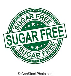 sugar free. stamp. sticker. seal. round grunge vintage ribbon sugar free sign
