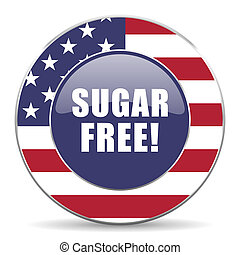 Sugar free usa design web american round internet icon with shadow on white background.