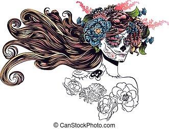 Sugar girl - Sugar skull girl in flower crown