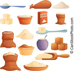 Sugar icons set, cartoon style