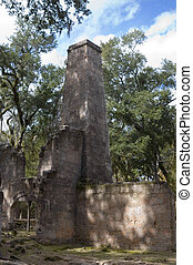 The Bulow Sugar Mill plantation ruins in Ormond Beach, Florida, burnt by the Seminole Indians in 1836.