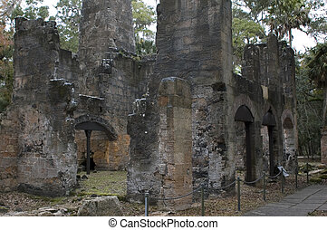 The Bulow Sugar Mill ruins in Ormond Beach, Florida, burnt by Seminole Indians in 1836.