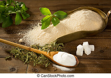Sugar or stevia sweetener - Crystal sugar and lumps together...