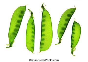 Sugar peas (Pisum sativum) pods isolated against white ...